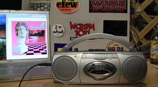 Voporwave mit einer Aiwa Boombox