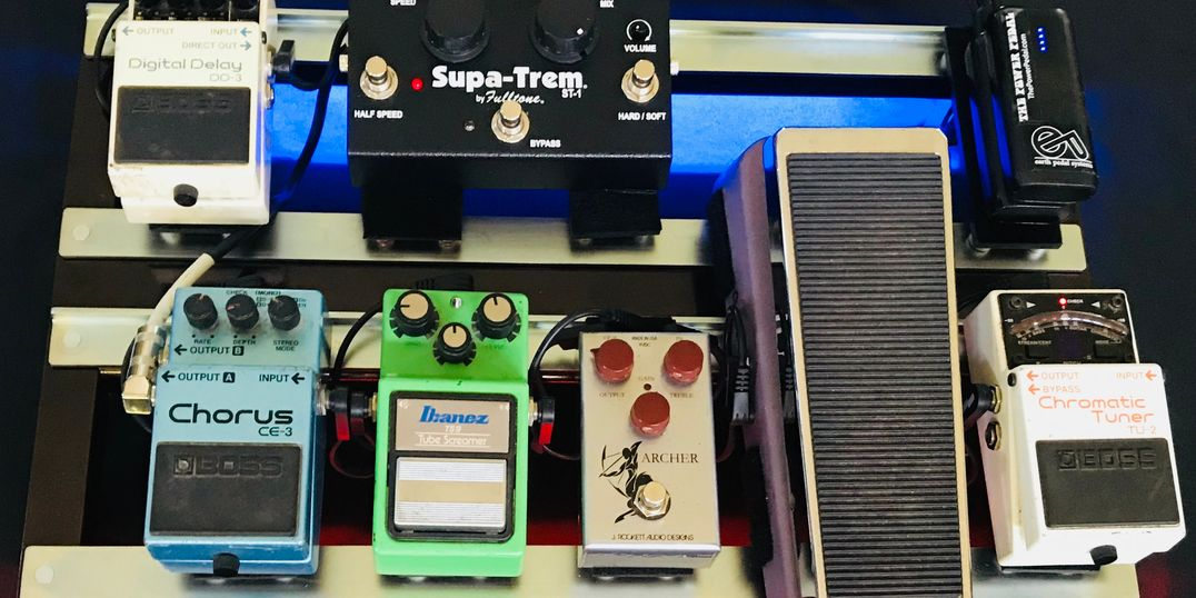 Earthboard loaded with various effects pedals