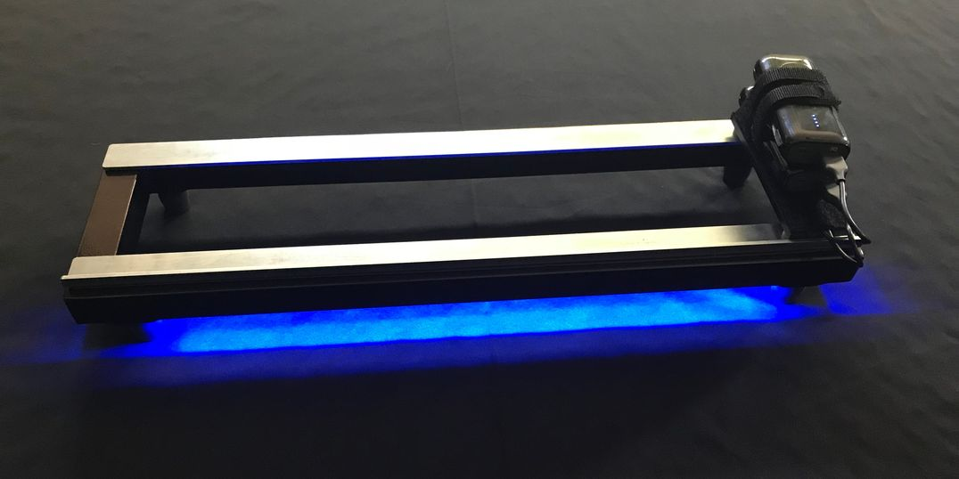 EarthBoard with twin steel rails and blue LED