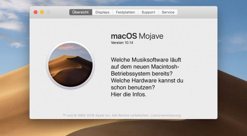 macOS Mojave ist da. Doch welche Musik-Hard- und Software läuft damit?