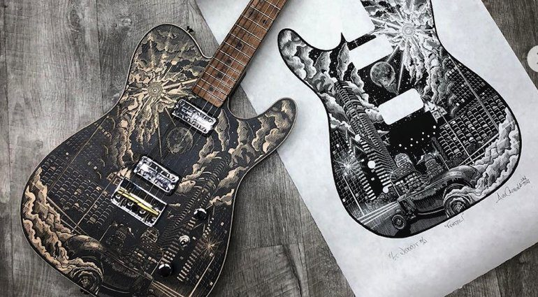 Fender-Custom-Shop-Ron-Thorn-Woodblock-Print-Tele-as-well.-The-latter-a-limited-run-of-25-all-hand-signed-by-the-artist-Alex-Carmona.