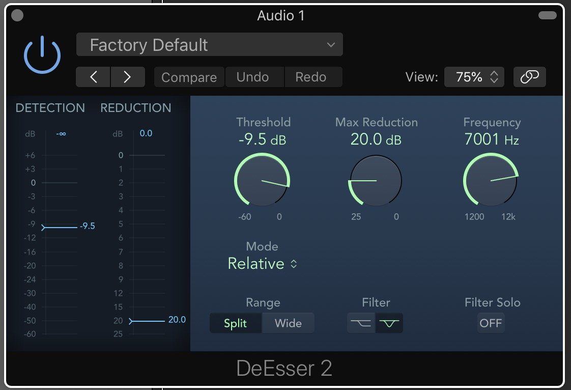 Apple Logic Pro X 10.4.5. Deesser 2 GUI