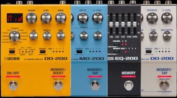 Boss OD-200 MD-200 DD-200 EQ-200 Effekt Pedal 200 Series Teaser