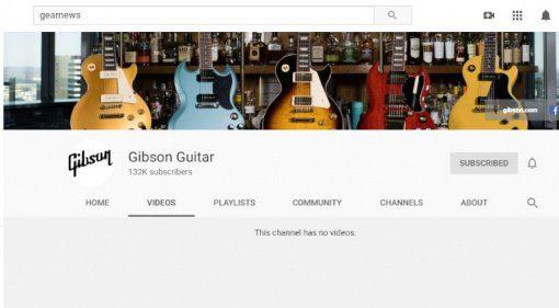 Gibson Youtube Kanal Videos geloescht