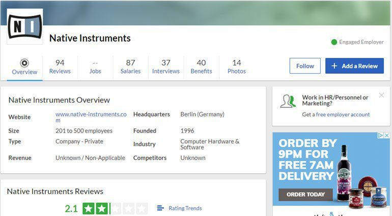 Review von Native Instruments auf Glassdoor.co.uk