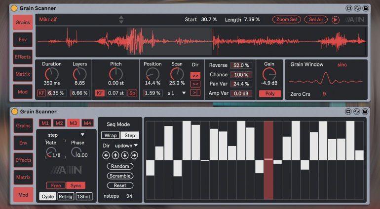 Amazing Noises Grain Scanner: zehnstimmiger Granular Synthesizer für Max for Live