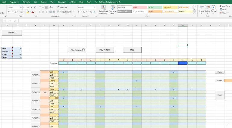 Eine Drum Machine mit Sequencer in Microsoft Excel? Na klar!