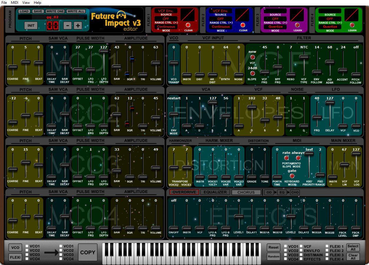 pandaMidi Future Impact V3 synth pedal editor
