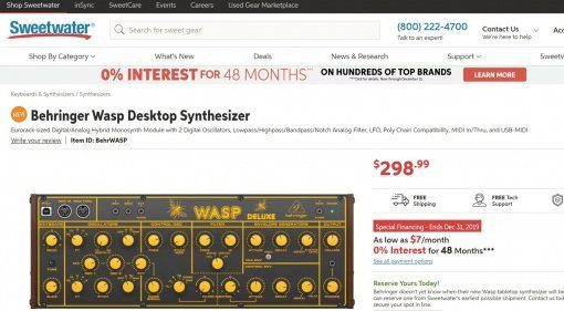 Sweetwater Leak: Behringer Wasp Deluxe Synthesizer kommt bald!