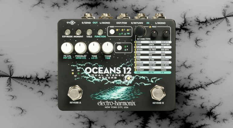 Electro-Harmonix Oceans 12 EHX Dual Stereo Reverb Effekt Pedal Front Teaser