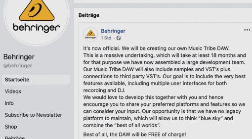 Behringer kündigt große kostenlose Music Tribe DAW an!