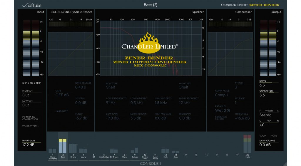 Softube Chandler Limited Zener Bender Channelstrip für Console 1