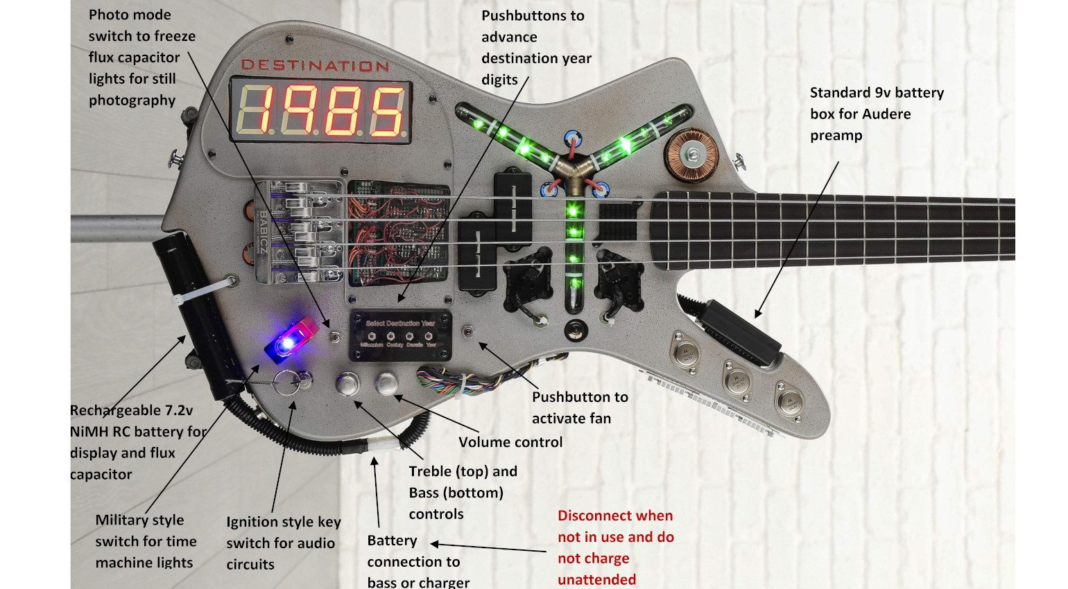 Doner Designs Time MAchine Bass Back To The Future Controls