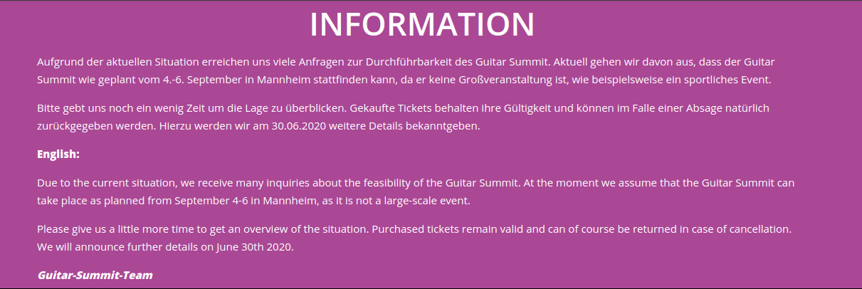 Guitar Summit 2020 Statement