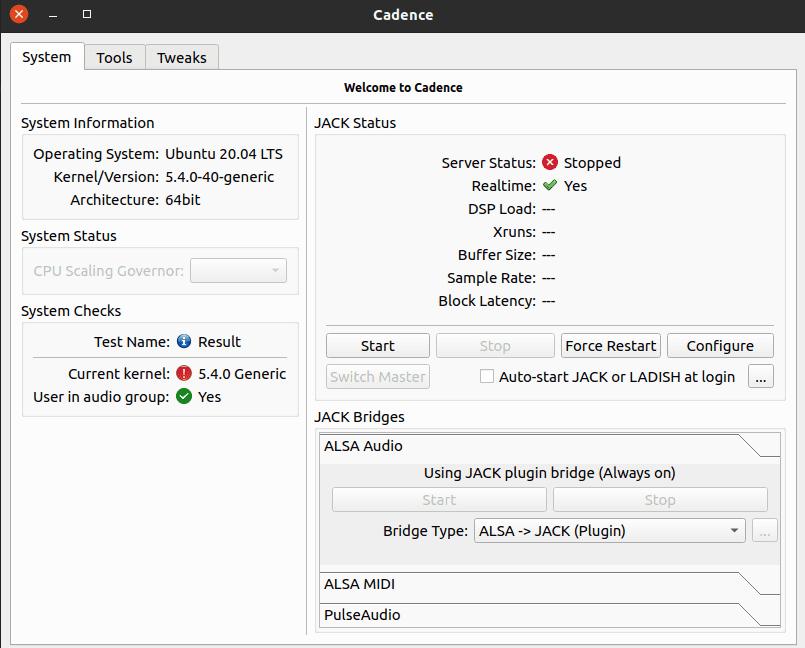 JACK Cadence Config Window Ubuntu