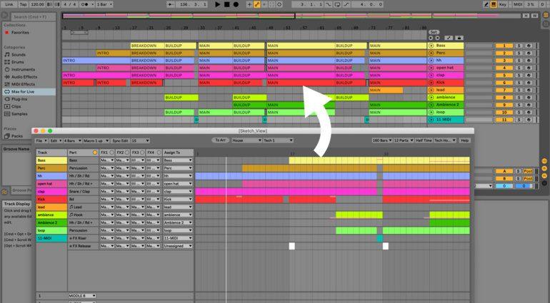XY StudioTools Song Sketch: ein Song Struktur Editor für Ableton Live