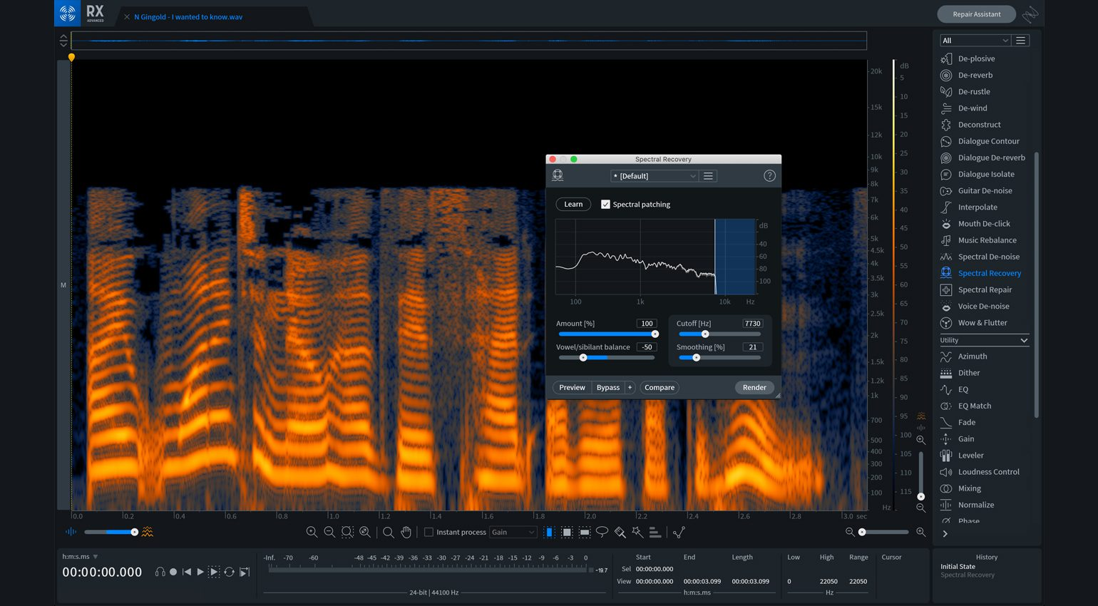 iZotope RX 8 Spectral Recovery