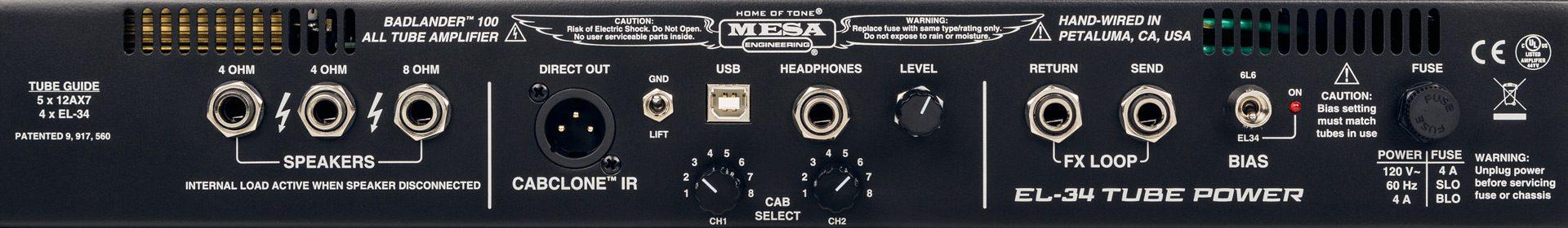 Mesa Boogie Badlander Topteil Panel Back