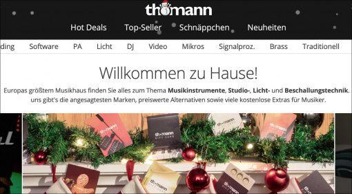 Achtung: Weihnachten, Versand-Deadline und Lockdown bei Thomann