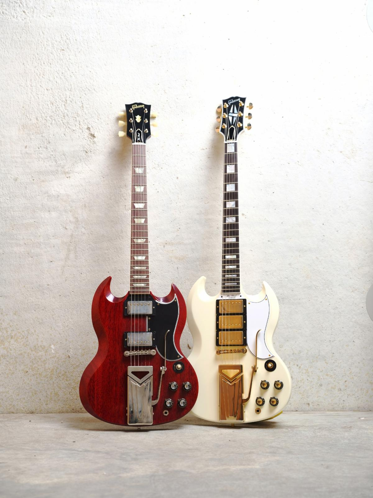 Gibson 60th Anniversary 1961 SG Standard Sideways Vibrola Cherry Red VOS Classic White VOS