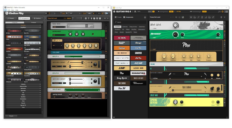 Guitar Rig 5 GUI Guitar RIG 6 GUI Vergleich 1