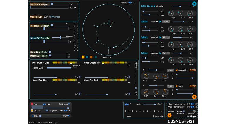 sonicLAB Cosmosƒ M31: generativer stochastischer MIDI-Event Prozessor
