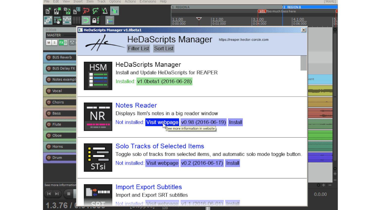 Reaper HeDaScripts Manager