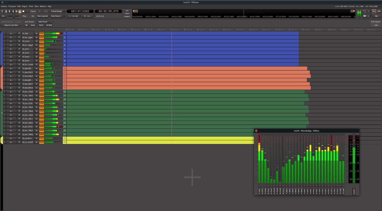 Harrison Mixbus 7 DAW Recording Window Meterbridge