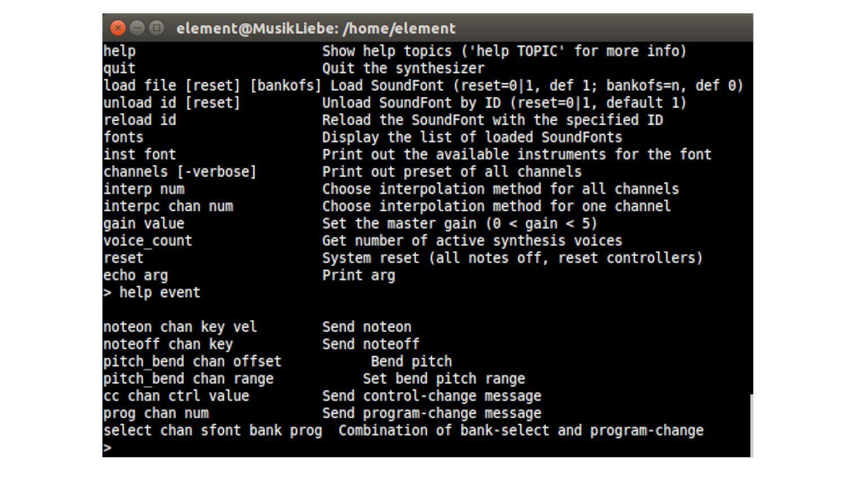 FluidSynth Synthesizer Linux GUI