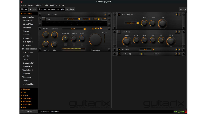 Guitarix Test angecheckt GUI Dark