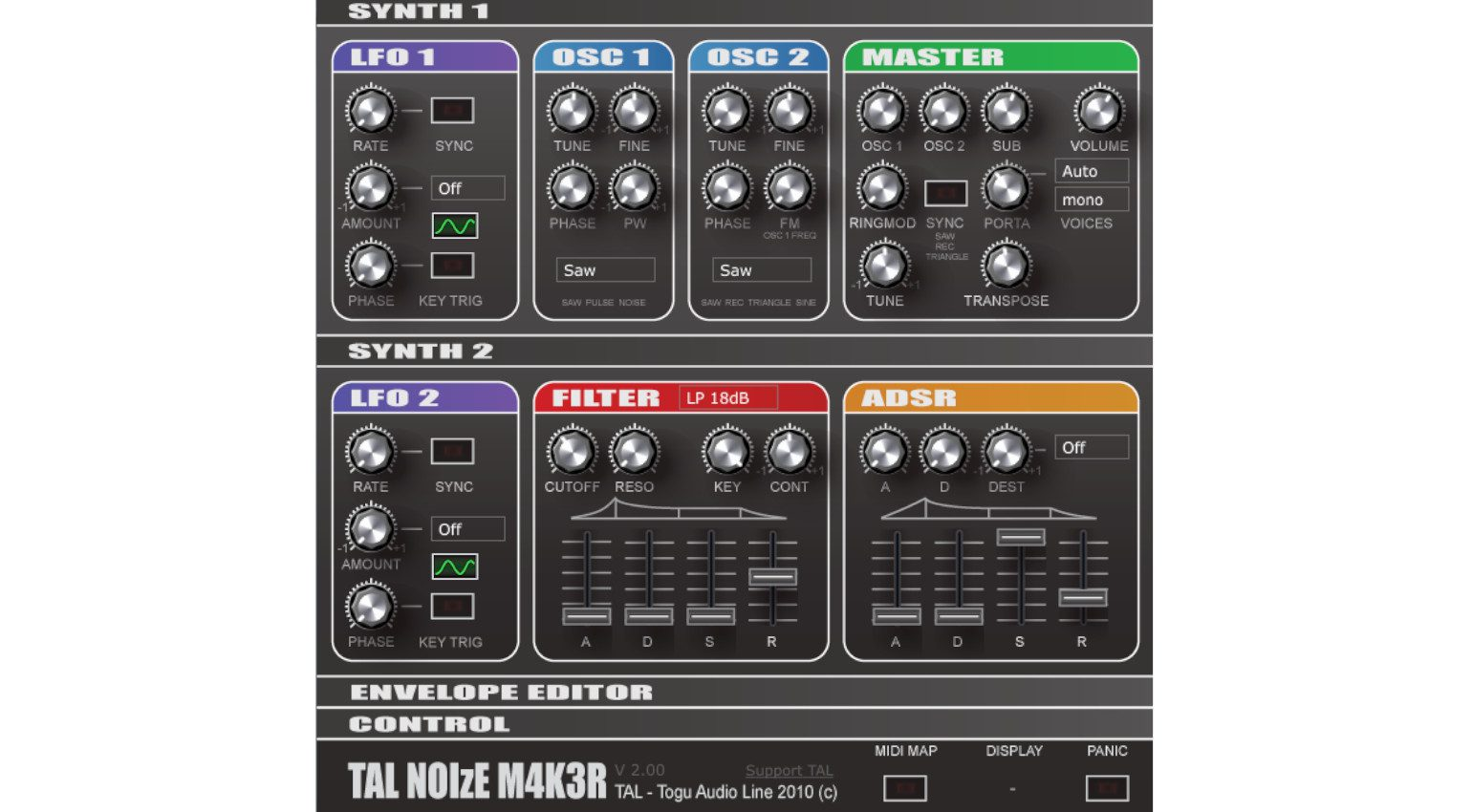 TAL Noisemaker Synthesizer Linux GUI