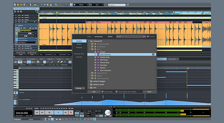 Magix Samplitude Music Studio 2022 Plug-in-Browser