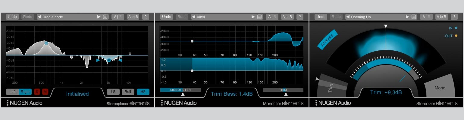 Nugen Audio Stereoplacer Elements, Monofilter Elements, Stereoizer Elements