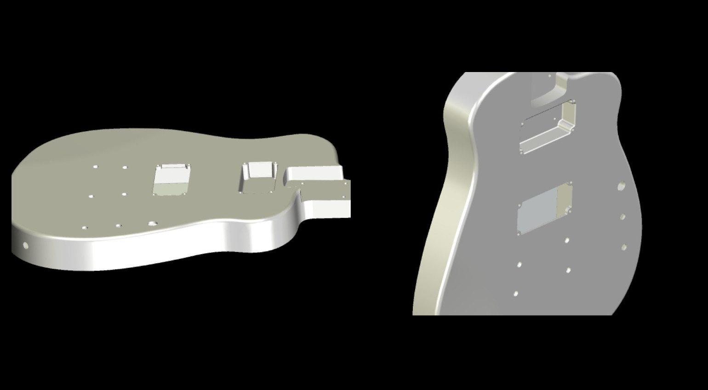 Instrumental Aluminium Gitarre 3D